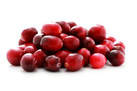 cranberry fruit: fresh cranberries on white background - fruits and vegetables