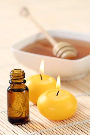 honey essential oil and fresh honey - beauty treatment
