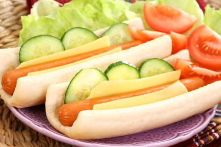 two fresh and delicious hot dogs with vegetables Stock Photo - 8936012