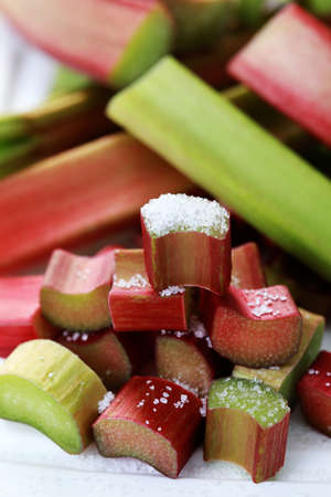 rhubarb: close-ups of fresh rhubarb with sugar - fruits and vegetables