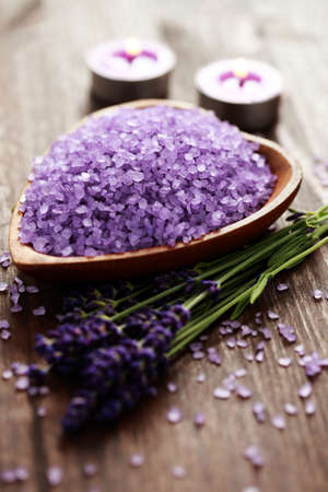 lavender coloured: bowl of lavender bath salt - beauty treatment