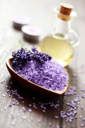bowl of lavender bath salt and massage oil - beauty treatment photo