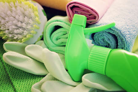 all you need to clean house - close-ups of cleaning supplies photo