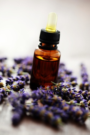 bottle of lavender massage oil with fresh lavender flowers - beauty treatment