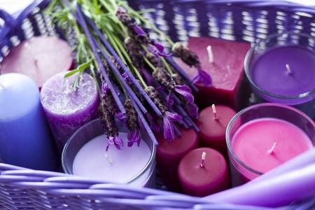 바구니 라벤더 양초 - 아로마 테라피 가득 스톡 콘텐츠