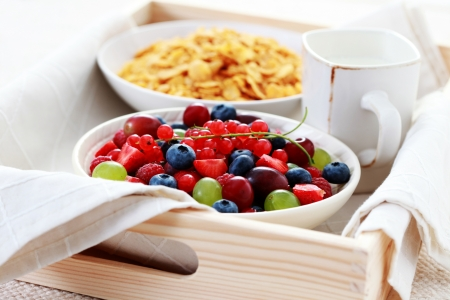 delicious berry fruits with cereals - food and drink