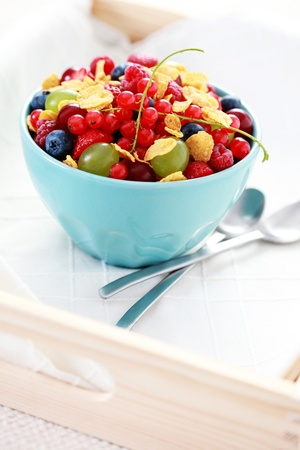 bowl full of fresh berry fruits with cereals  - food and drink photo