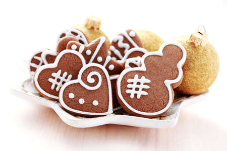 plate full of Christmas gingerbreads - sweet food photo