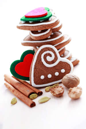 stack of delicious Christmas gingerbreads hearts - sweet food photo