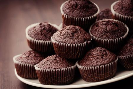 close-ups of chocolate muffins - sweet food