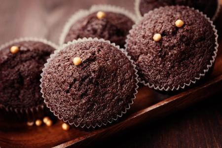 クローズ アップ - チョコレートのマフィンの甘い食糧