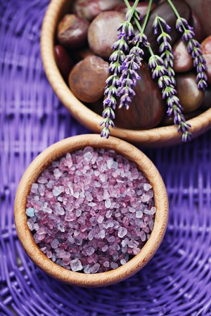 bar of lavender soap with bath salt - beauty treatment /shallow DOF/