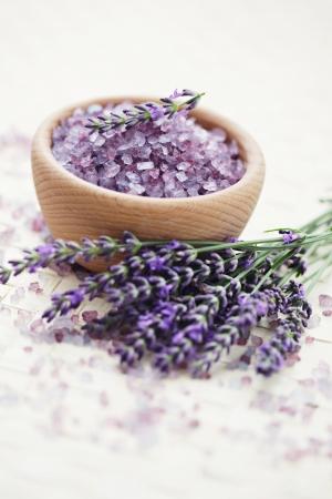 bowl of lavender bath salt with fresh flowers - beauty treatment /shallow DOF/ Imagens