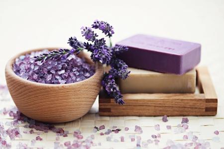 glycerine soap and bowl of lavender bath salt - beauty treatment /shallow DOF/