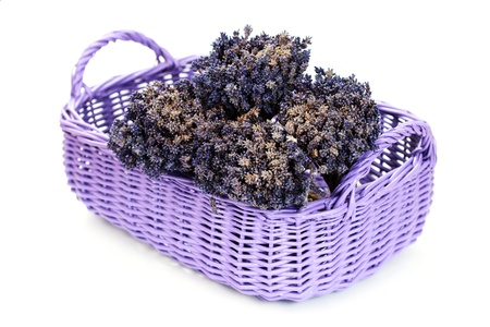 basket with lavender flowers on white - flowers and plants photo