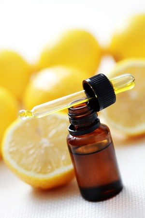 bottle of essential oil from lemon - alternative medicine photo