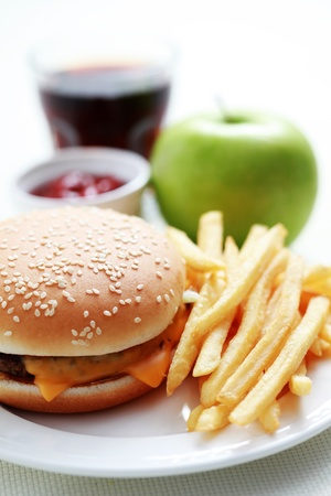 lunch time cheeseburger and french fries - food and drink photo