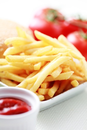 french fries and some burger - food and drink photo