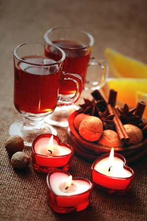 two glasses of mulled wine - food and drink