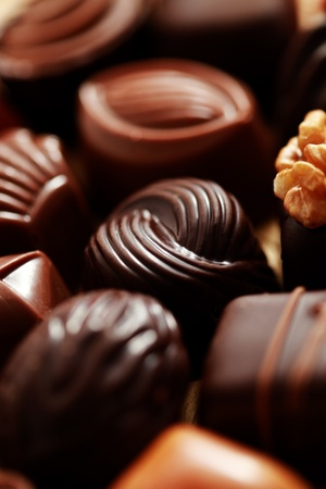 truffles: close-ups of delicious pralines - sweet food