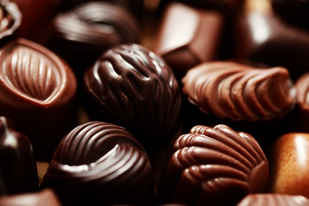 close-ups of delicious pralines - sweet food