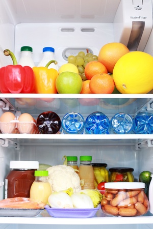 beverage fridge: refrigerator full of healthy eating - food and drink Stock Photo