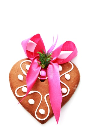 gingerbread heart on white background - sweet food Stock Photo - 10180196