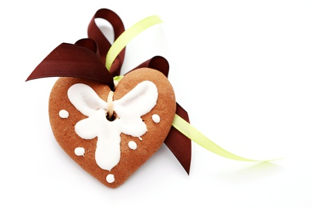 gingerbread heart on white background - sweet food Stock Photo - 10179995