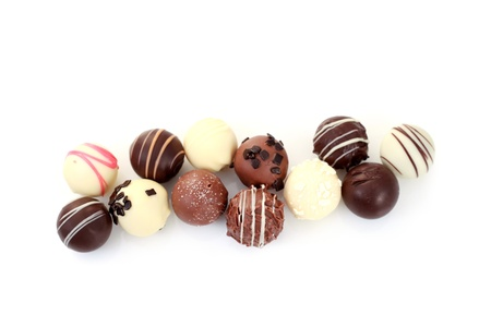 various chocolates on white background - sweet food Banque d'images