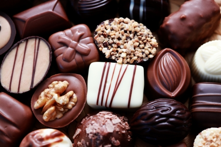various chocolates as a background - sweet food Banque d'images