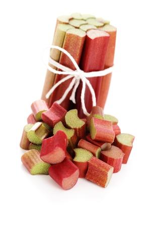 Auf weißem Hintergrund - Obst und Gemüse essen frisch Rhabarber Standard-Bild - 10342900