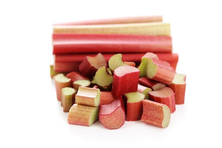 fresh rhubarb ready to eat on white background - fruits and vegetables