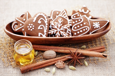 homemade gingerbreads with spices - sweet food Stock Photo