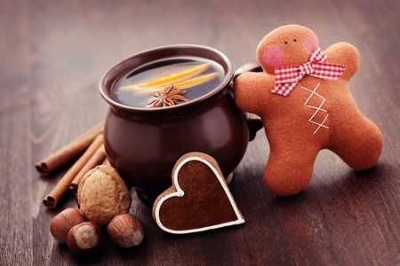 cup of mulled wine with spices - food and deink Stock Photo