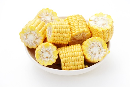 sweetcorn: bowl full of sweetcorn ready to cook - fruits and vegetables
