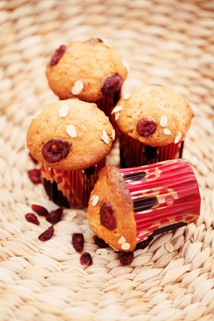 wild oats: delicious muffins with cranberries - sweet food