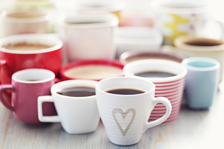 lots of coffee in different cups - coffee time Standard-Bild