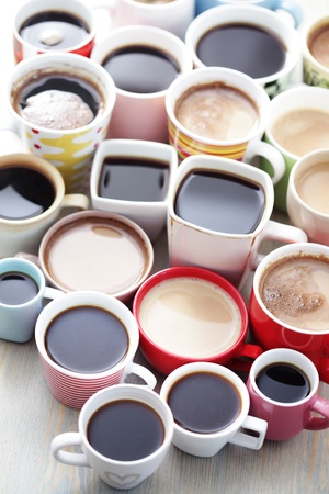 lots of coffee in different cups - coffee time Stock Photo