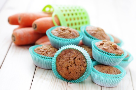 homemade carrot muffins with walnut and cinnamon - sweet food