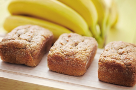 delicious banana breads with fresh fruits - sweet food Stock Photo