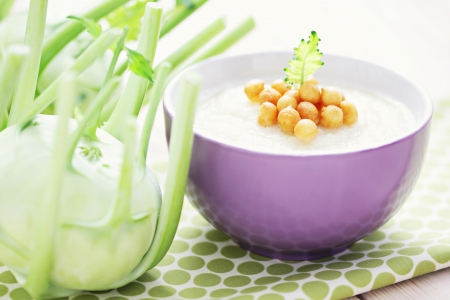 bowl of delicious kohlrabi soup - food and drink Stock Photo