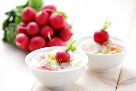 delicious radish soup with potatos - food and drink