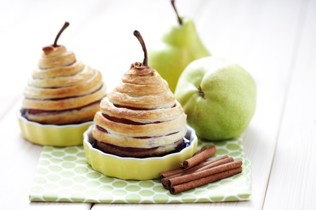 delicious pear in french pastry with red wine - sweet food