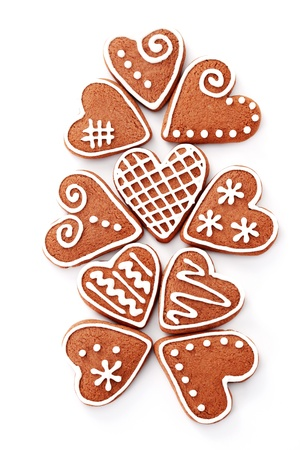 gingerbread hearts on white background - sweet food