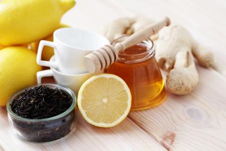all you need to make ginger tea - tea time Stock Photo