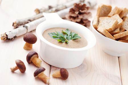 bowl of delicious mushroom cream - food and drink selective focus Zdjęcie Seryjne