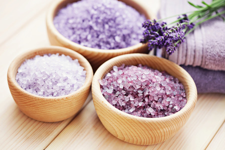 bowl of lavender bath salt - beauty treatment