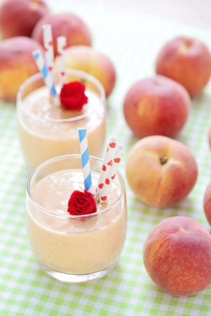 Peach flower: delicious and fresh peach smoothie  - food and drink