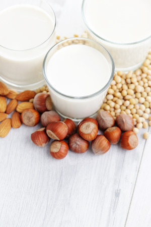 different vegan milk - food and drink Stok Fotoğraf