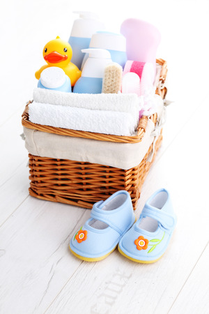 basket full of baby accessories - children
